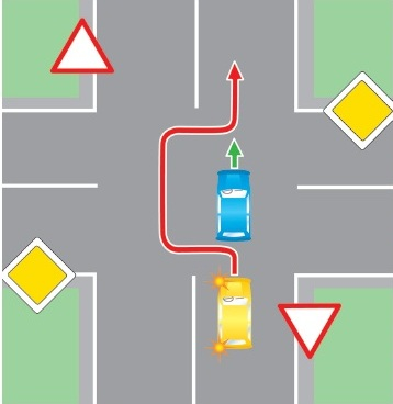 Обгон на нерегулируемом перекрестке при движении по дороге, не являющейся главной.