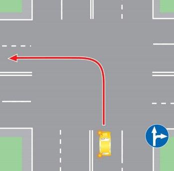 поворот налево в нарушении требований,предписанных дорожными знаками.